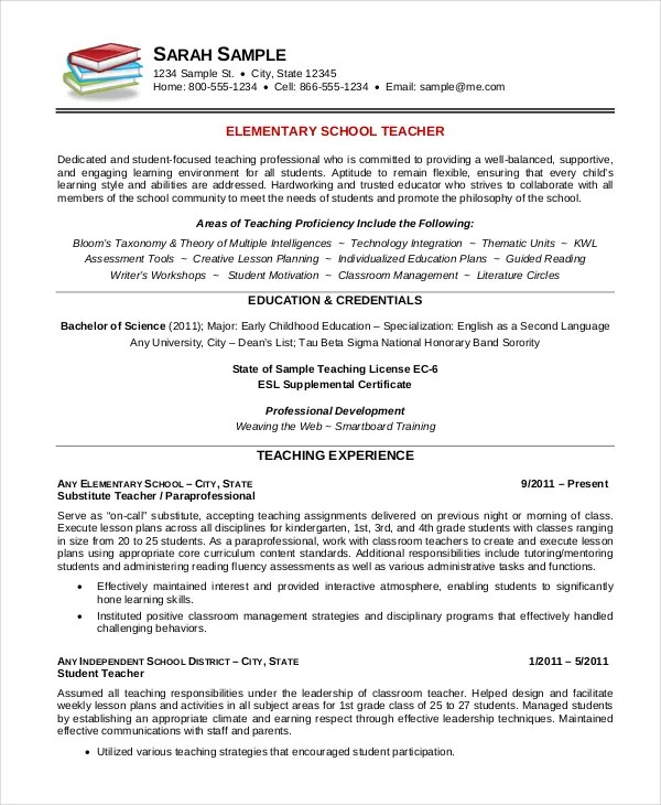 Elementary Teacher Resume Template - 7+ Free Word, PDF Document - First Year Teacher Resume Examples