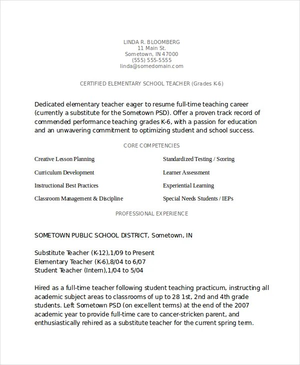 Elementary Teacher Resume Template - 7+ Free Word, PDF Document - Elementary Teaching Resume
