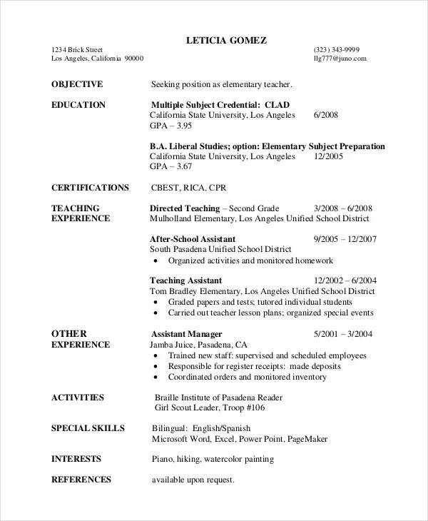 Elementary Teacher Resume Template - 7+ Free Word, PDF Document - Elementary Teacher Resume Sample