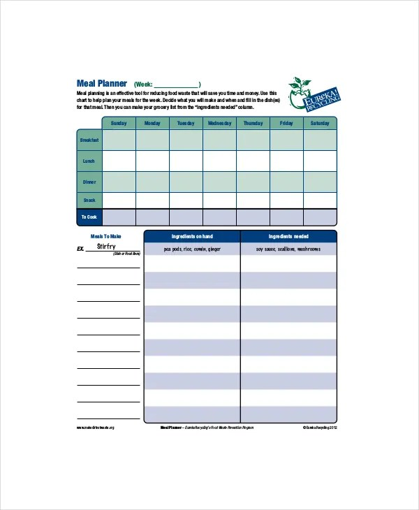 Daily Meal Food Planner Template - 4+ Free PDF Documents Download - daily menu planner template