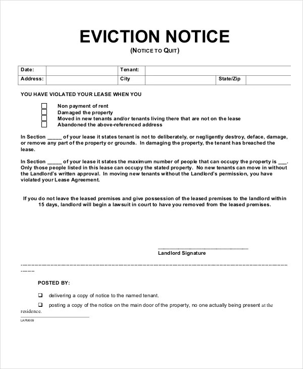 Eviction Notice - 9+ Free Word, PDF Documents Download Free