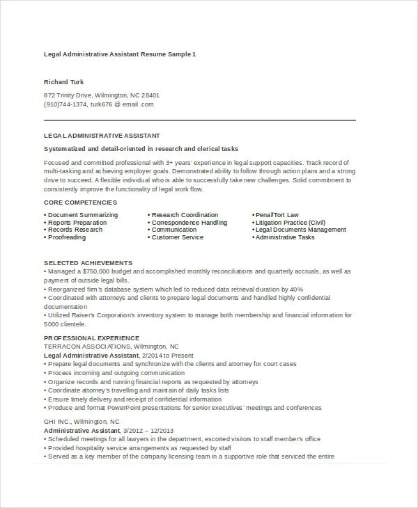 free legal assistant resume samples