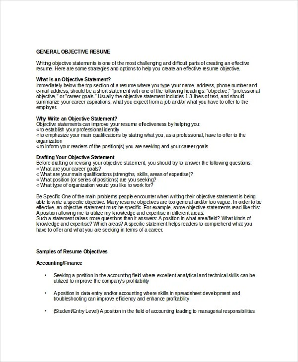 18+ Sample Resume Objectives - PDF, DOC Free  Premium Templates - objective sentence for resume