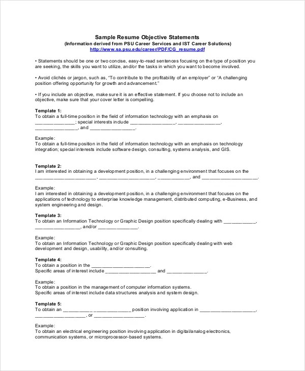 18+ Sample Resume Objectives - PDF, DOC Free  Premium Templates - It Resume Objective Statement