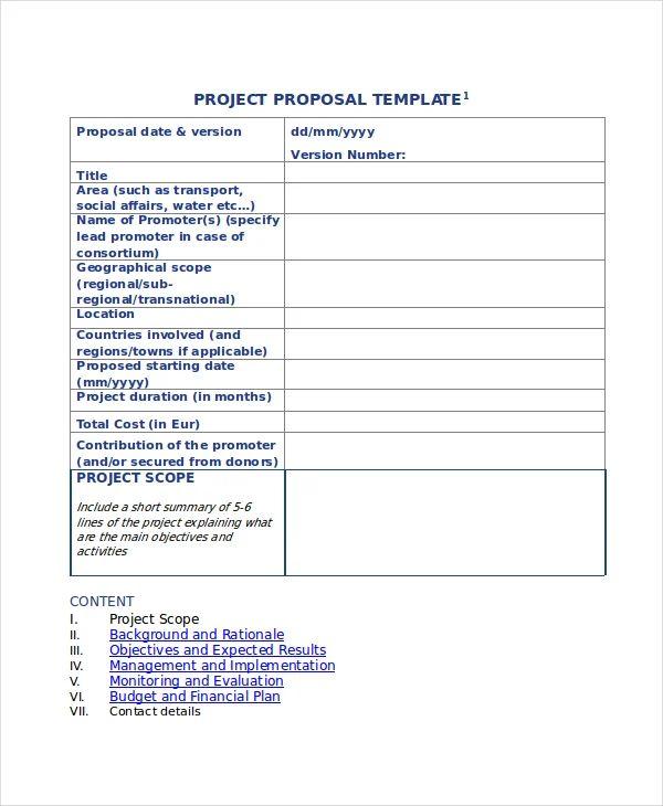 sample of proposal format