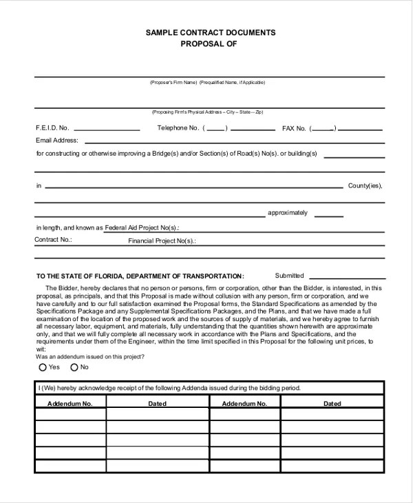 Sample Contract Proposal Template - sarahepps -
