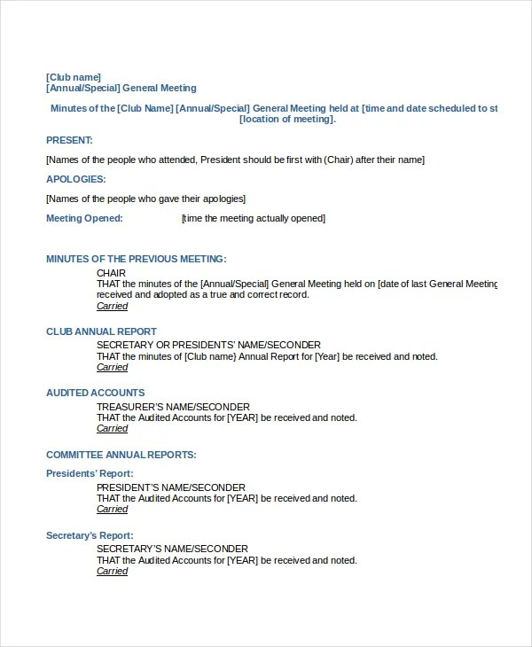 Meeting Minutes Template - 13+ Free Word, PDF, PSD Documents