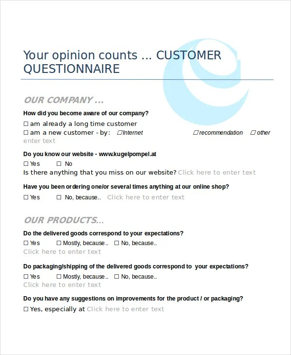 Questionnaire Template Word - 9+ Free Word Document Downloads Free - free questionnaire template word