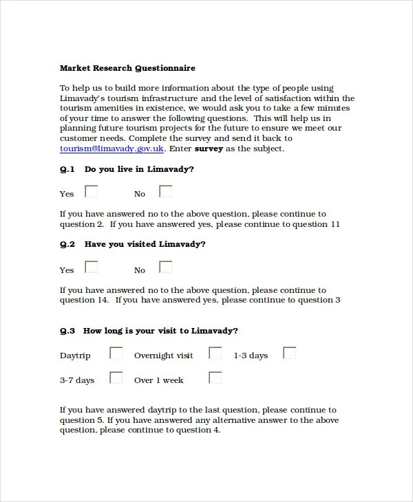 Questionnaire Template Word - 11+ Free Word Document Downloads