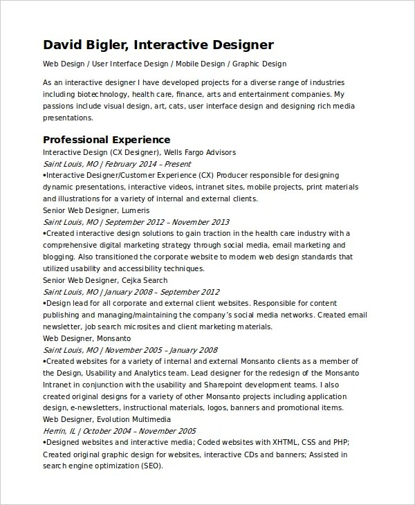 Interactive Resume Template - 6+ Free Word, PDF Document Downloads - Visual Designer Resume