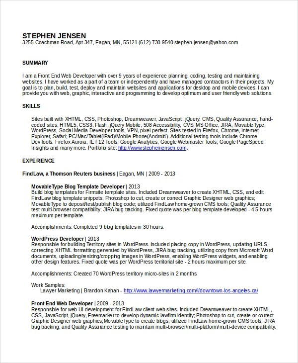 Interactive Resume Template - 6+ Free Word, PDF Document Downloads