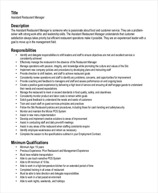 resume for a restaurant manager - Ozilalmanoof - Restaurant Management Resume
