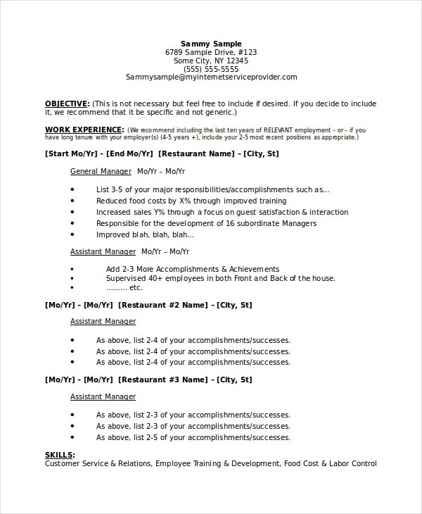 Restaurant Manager Resume Template - 6+ Free Word, PDF Document - restaurant skills resume