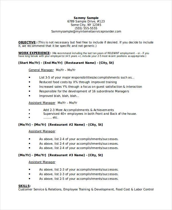 restaurateur business plan resume example