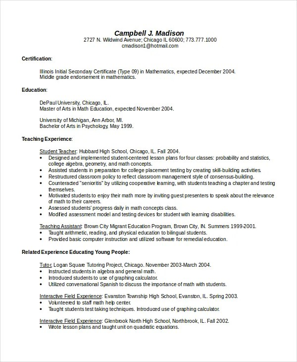Bsr Teacher Resume Library Best Sample Resume Bilingual Resume Template 5 Free Word Pdf Document