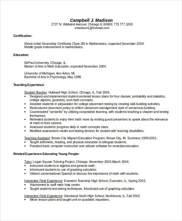 4+ Bilingual Resume Templates - PDF, DOC Free  Premium Templates - high school math teacher resume