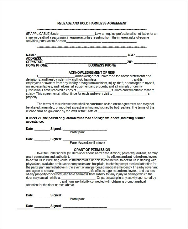 Commercial Lease Hold Harmless Agreement  Job Application Form