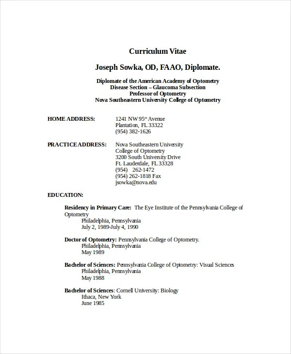 Optometrist Resume Template - 7+ Free Word, PDF Documents Download - optometrist assistant sample resume