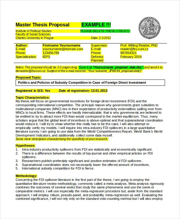 Thesis Proposal Template - 8+ Free Word, PDF Document Downloads