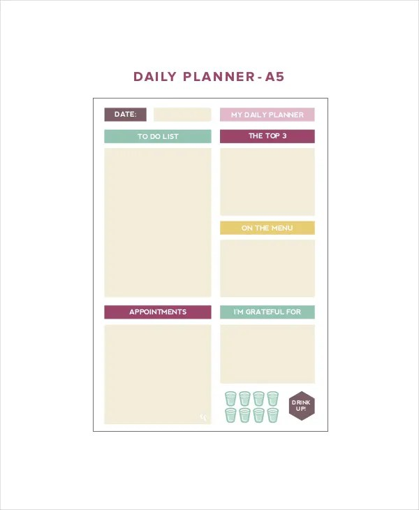 6+ Cute Daily Planner Templates - Free Sample, Example, Format - day to day planner template free