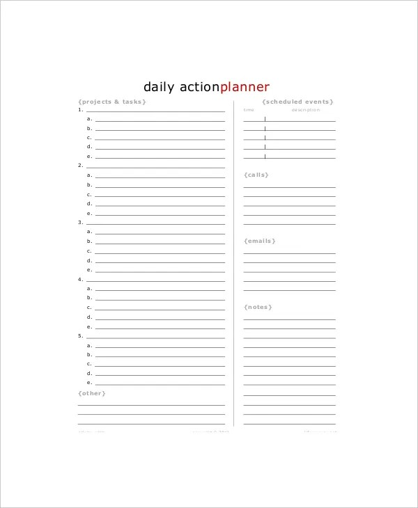 6+ Daily Action Planner Templates - Free Sample, Example Format