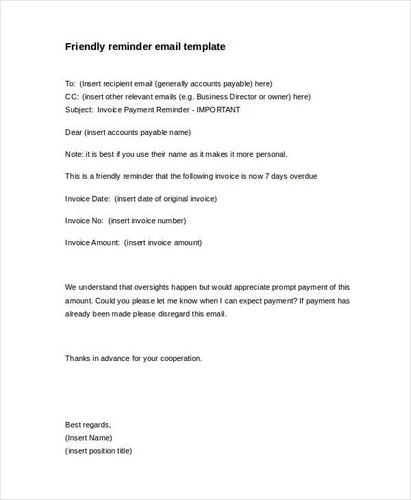 Friendly Notice Letter – Reminder Note Sample