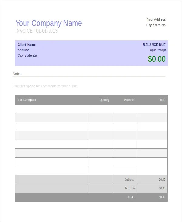 Invoice Template - 10+ Free Word, PDF Document Downloads Free