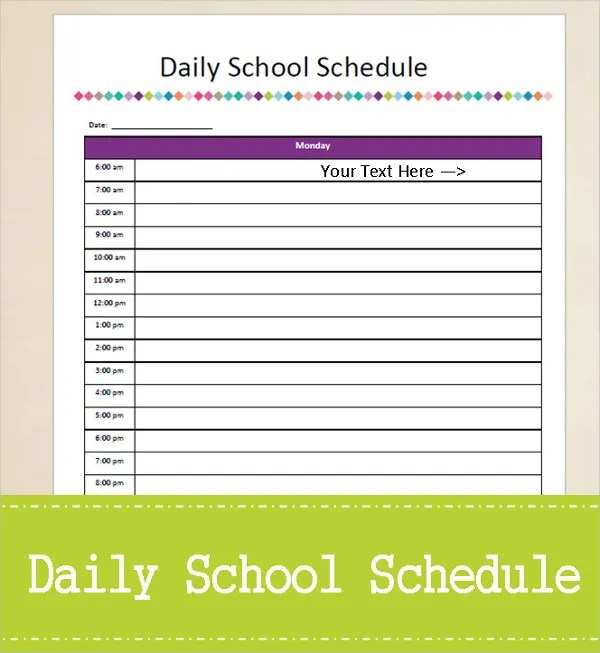 personal daily schedule - Towerssconstruction