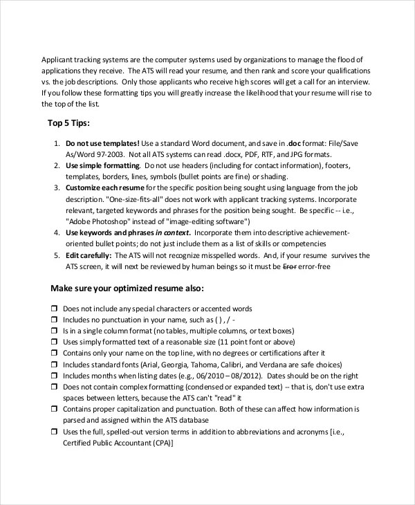 Parse Resume - 4+ Free Word, PDF Documents Download Free  Premium