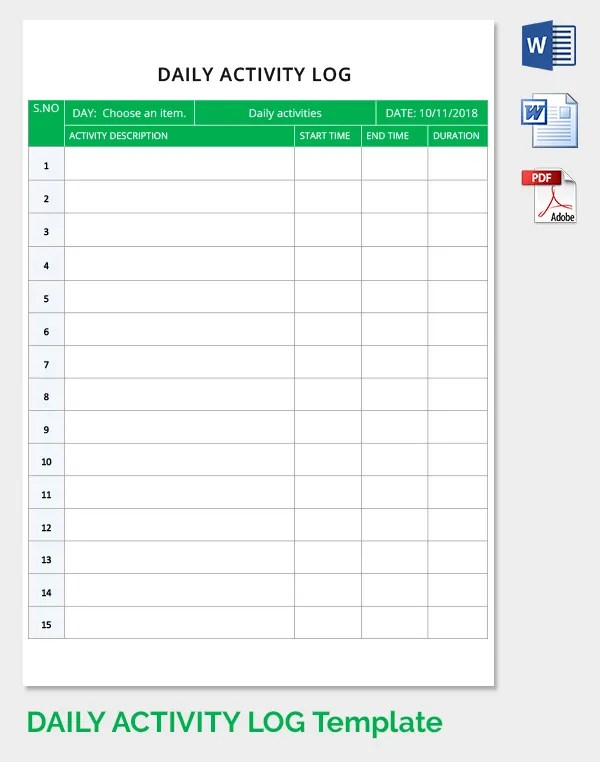 Free Daily Activity Log Template Download in Word, PDF Free - activity log template