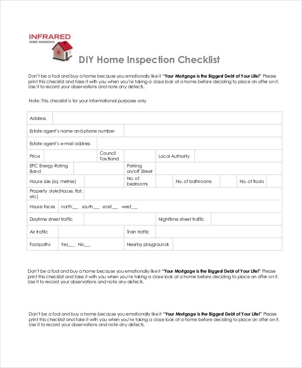 Home Inspection Checklist - 13+ Free Word, PDF Documents Download - sample home buying checklist