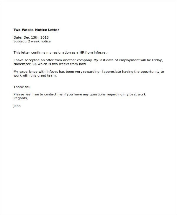 letter format weeks notice copy resignation exam as letter format 2