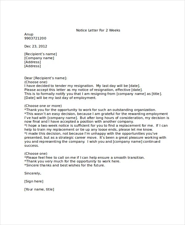 2 Week Notice Letter - 8+ Free Word, PDF Documents Download Free - 2 week notice letters
