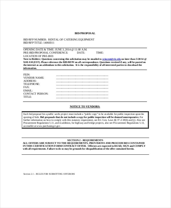 Catering Proposal Template - 9+ Free Word, PDF Documents Download - Bid Proposal Template Free