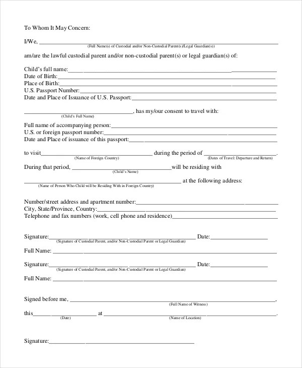 Permission Letter Template - 6+ Free Word, PDF Document Downloads - free child travel consent form template