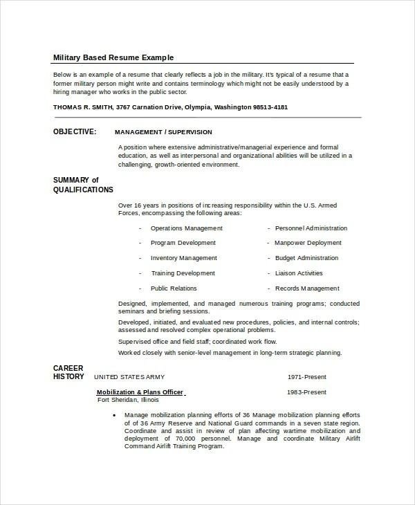 Infantryman Resume Template - 7+ Free Word, PDF Document Downloads