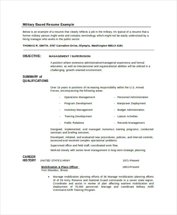 resume templates for military