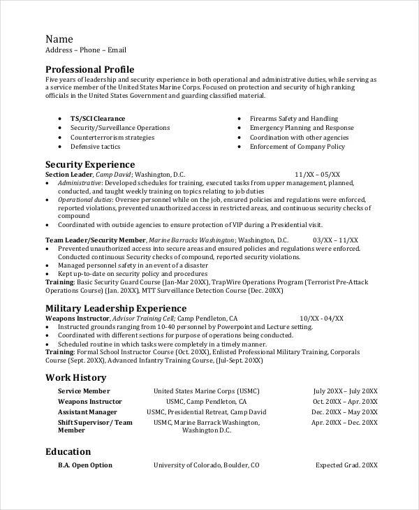 marine infantry resume