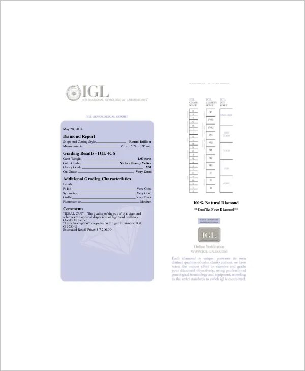 Diamond Grading Chart Template Diamond Clarity Chart - color chart template