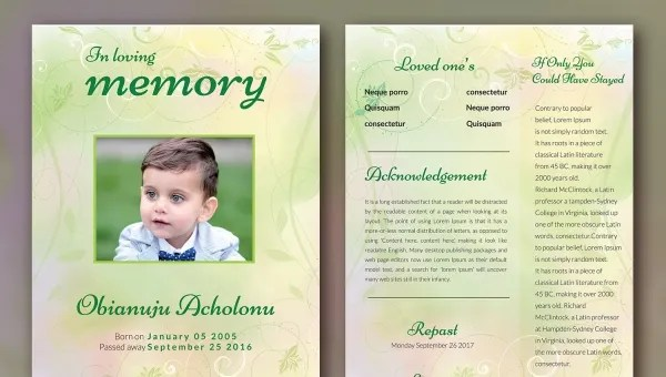 5+ kids Funeral Templates - Word, PSD Format Download Free