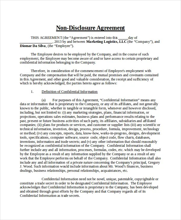 Non Disclosure Agreement Template - 8+ Free Word, PDF Document - non disclosure agreements