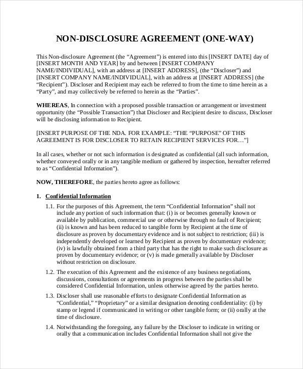 Non Disclosure Agreement Template - 8+ Free Word, PDF Document - business non disclosure agreement