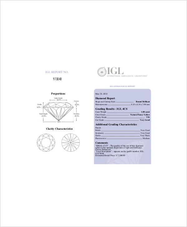 Sample Diamond Chart | colbro.co