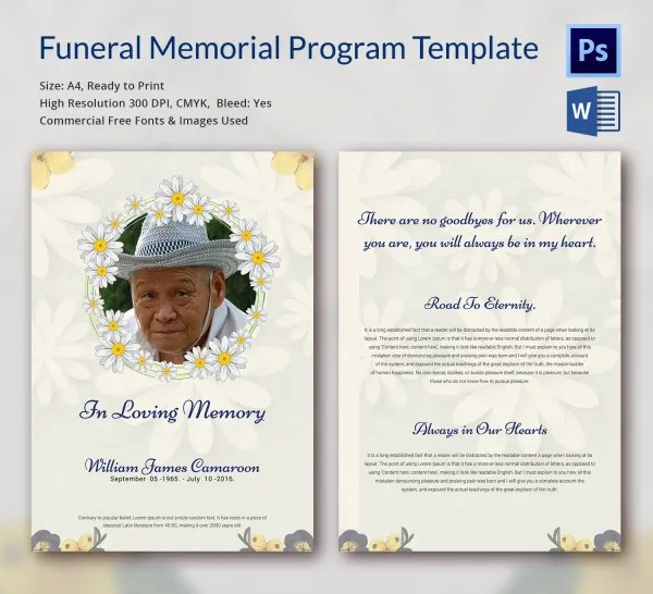funeral program template free download - Idealvistalist - free download funeral program template