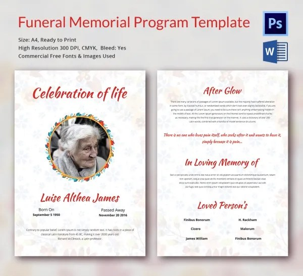 5 Funeral Memorial Program Templates - Word, PSD Format Download - memorial program