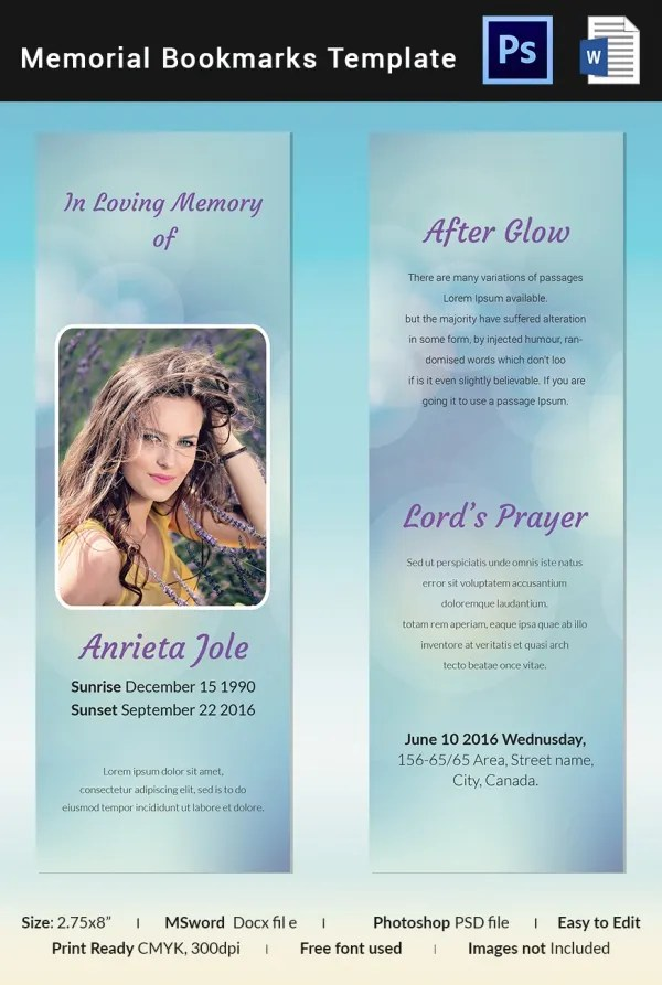 memorial bookmarks template free - Onwebioinnovate - memorial card templates microsoft word