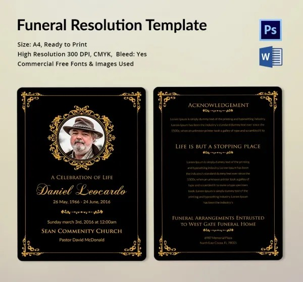 Funeral Resolution Template - 5 Word, PSD Format Download Free - funeral templates