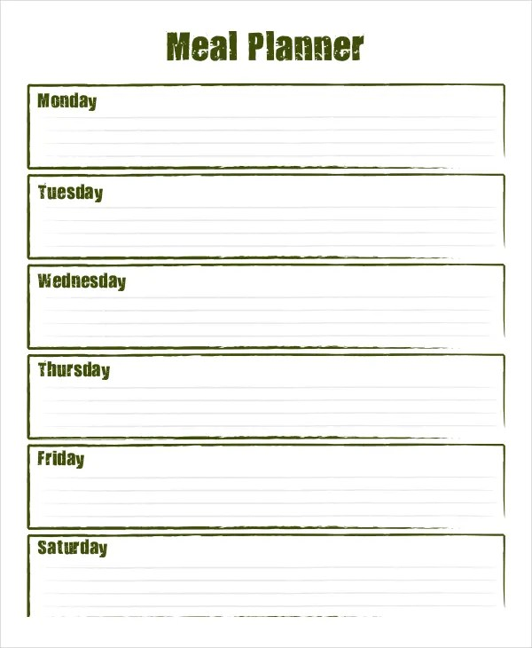 meal plan template pdf - Ozilalmanoof - meal planning template