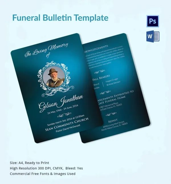 funeral templates for word