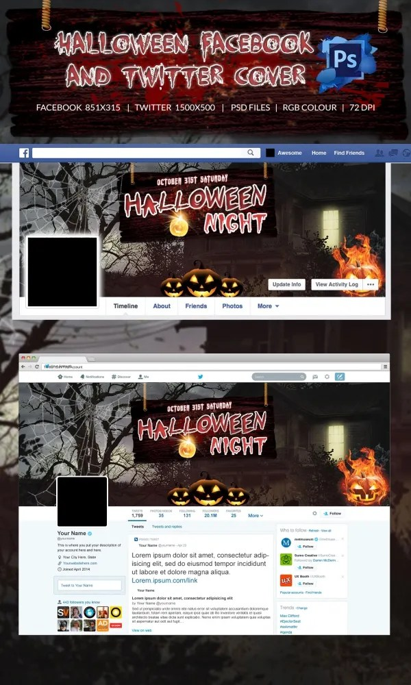 5+ Halloween Facebook  Twitter Cover Pages - PSD Format Download